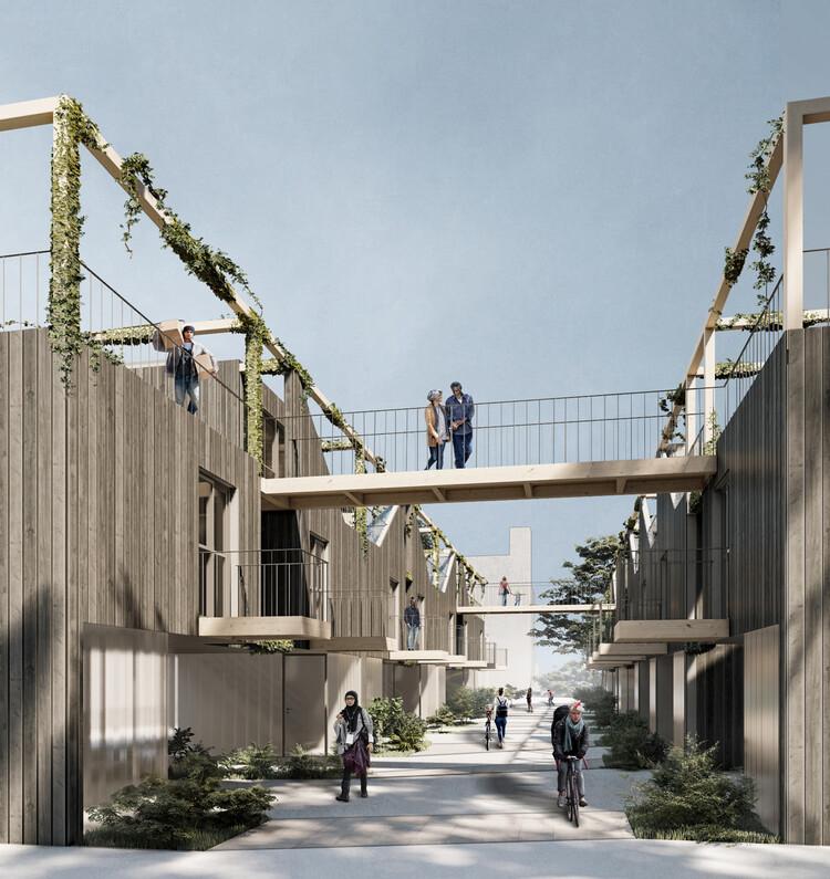 Equipe de arquitetas brasileiras é premiada em concurso de habitação em Toronto, Canadá, A atmosfera vibrante da laneway. Image Cortesia de Equipe de projeto