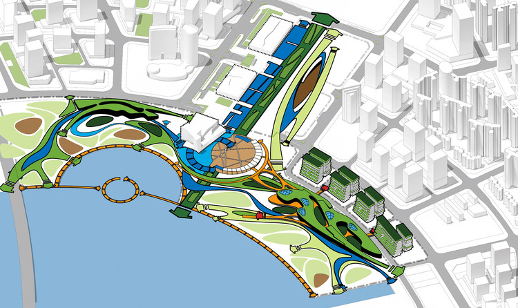 OCT OH Bay concept diagram-central axes, east and west bank, green belt connection. Image Courtesy of Laguarda.Low Architects