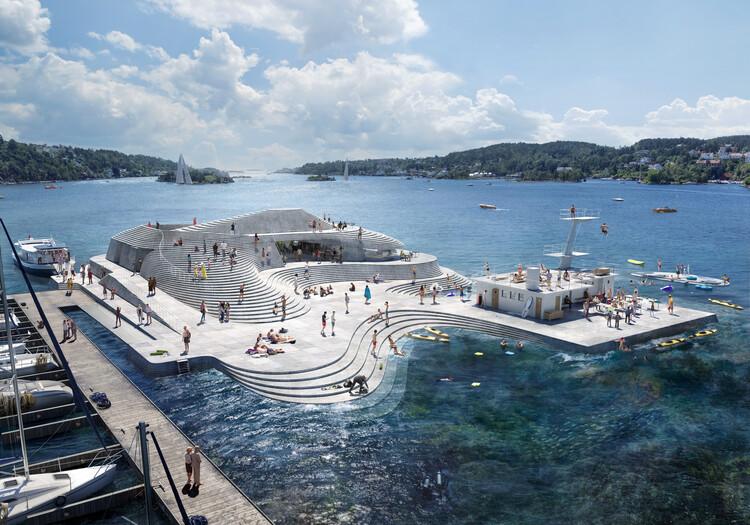 Snøhetta crea una nueva topografía para el rediseño de Norwegian Harbour Bath, © Snøhetta / Aesthetica Studio