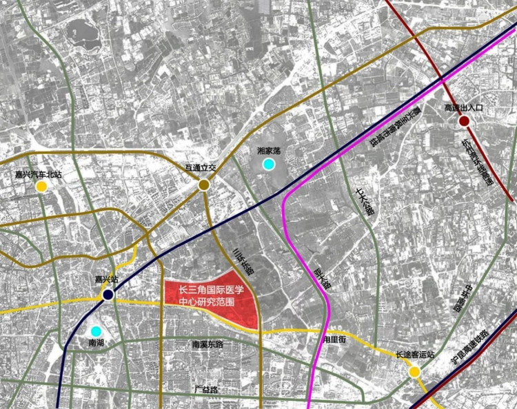 Location Schematic Diagram II of the Yangtze River Delta International Medical Center Periphery Research Area