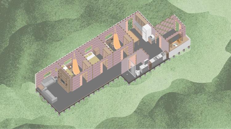 Resultado do 4º Prêmio de Design Instituto Tomie Ohtake Leroy Merlin, Módulo de Acolhimento Amazônico. Ilustração da Maquete - Casa a partir dos módulos propostos. Crédito dos autores do projeto