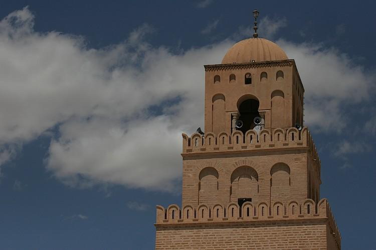 Minaret of Kairouan Mosque. Image via Wikimedia Commons (CC BY-SA 3.0)