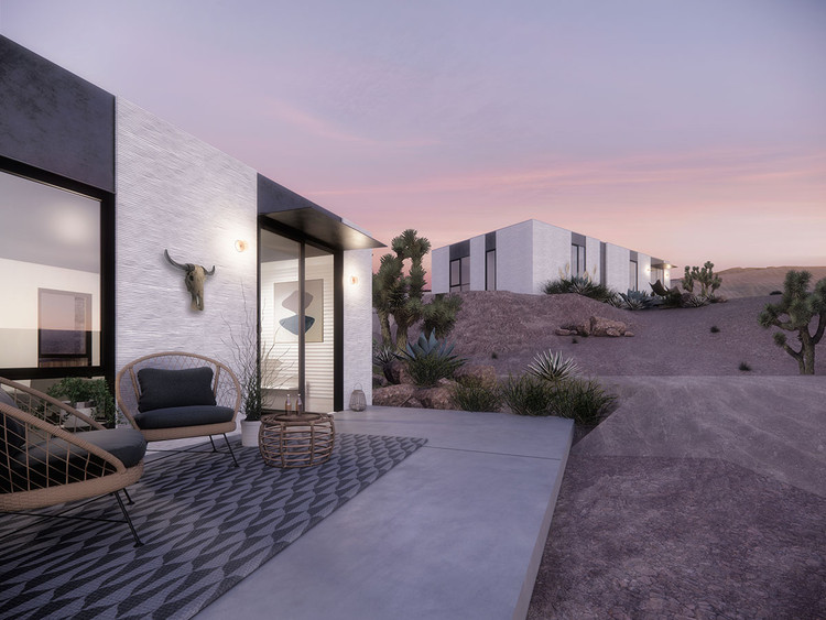 Дом для одной семьи Mighty House и ADU, спроектированный EYRC Architects.  Выполнено в Enscape.  Изображение предоставлено EYRC и Mighty House
