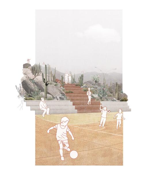 render proyecto ENTRE PIEDRAS Y XEROFITAS. Image vía BIALIMA 2021