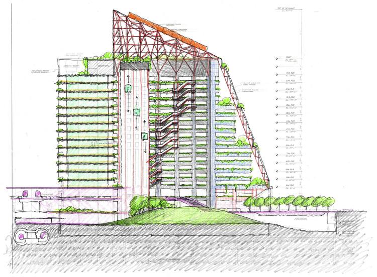 «Смещение: вертикальная петля» Тома Ли и Кристофера Истмана из Eastman Lee Architects.  Изображение предоставлено Конкурсом дизайнеров Центра Томпсона