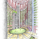 """""""Offset: the vertical loop"""" by Tom Lee and Christopher Eastman of Eastman Lee Architects.  Image courtesy of the Thompson Center Design Competition"""