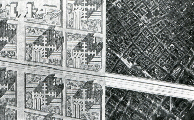 Le Corbusier's Plan Voisin with a satellite image of the city . Image © David Pinder