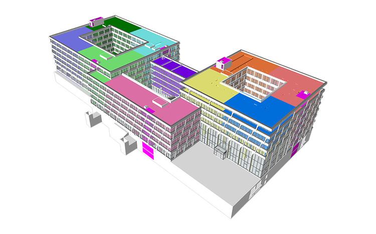 BIM-модель новой штаб-квартиры HeidelbergCement.  Изображение предоставлено AS + P Albert Speer + Partner GmbH