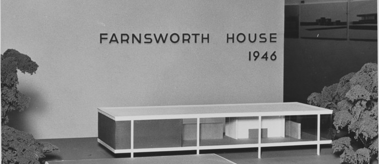The Allure—and Importance—of Architectural Models, Model of the Farnsworth House. Image via Ludwig Mies van Der Rohe's first show at MoMA in 1947.
