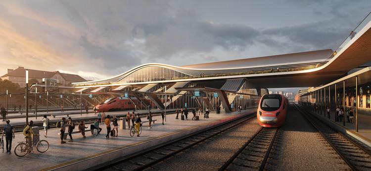 """""""Conexión Verde"""": La propuesta de Zaha Hadid Architects para transformar la estación de trenes de Vilnius, Lituania, © Negativ"""