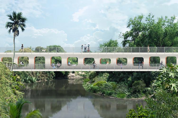 OMA / Shohei Shigematsu diseña un puente peatonal con dos pisos en Jojutla, México, Cortesía de OMA New York