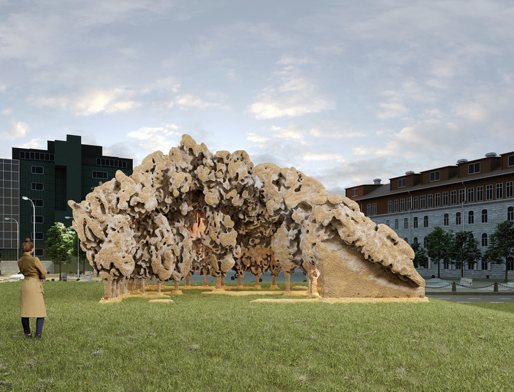 Installation Made of Mushrooms Wins 2022 Tallinn Architecture Biennale Competition, Courtesy of Simulaa