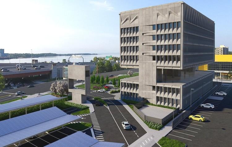 El icónico edificio brutalista de Marcel Breuer se transformará en un hotel boutique ecológico , © Becker + Becker